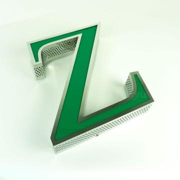 Yan Yüz 0,4mm Delikli Fileli Paslanmaz Kutu Harf