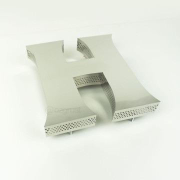 Yan Yüz 0,4mm Delikli Endirekt Paslanmaz Kutu Harf