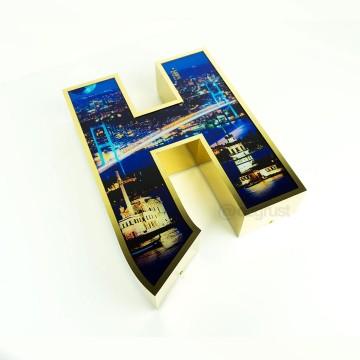 UV Dijital Baskılı Fileli Paslanmaz Kutu Harf