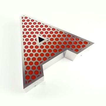 Ön Yüz 1,7mm Delikli Yan Bant Düz Paslanmaz Kutu Harf