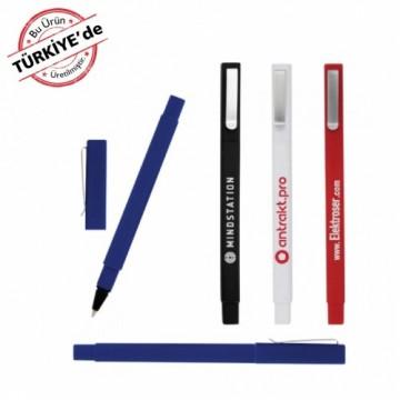 Soft Touch (Rubber Desen) Kare Kapaklı Tükenmez Kalem